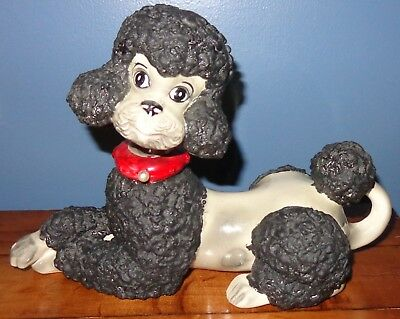 Vintage Atlantic Black And Silver Grey Poodle Figurine Red Collar Puffy Texture
