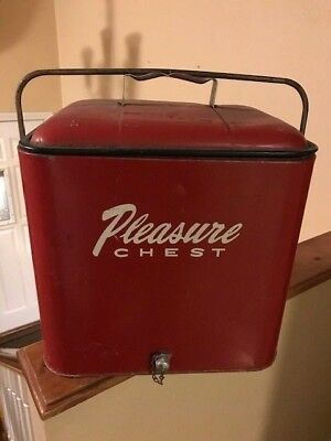 1950's Red Vintage Pleasure Chest Metal Cooler