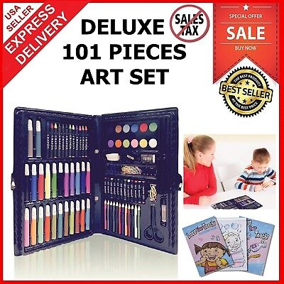 Deluxe Art Set For Kids Gifts 101 Piece Supplies Drawing Painting Coloring Kit