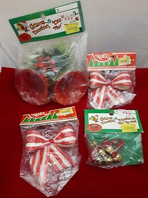vintage plastic Christmas bell's and decorations lot for wreath gift box nos