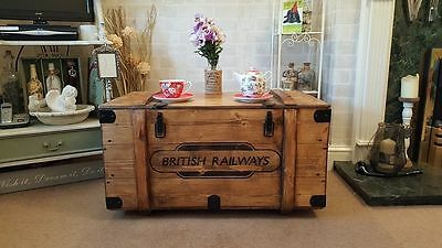 Industrial Vintage Army Railway Chest Trunk Rustic Coffee Table Blanket box