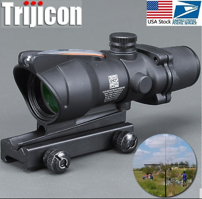 Hunting Riflescope ACOG 4X32 Real Fiber Optics Red Dot Illuminated Reticle Sight