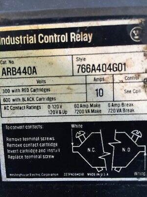 Westinghouse Industrial Control Relay Cat # ARB440A