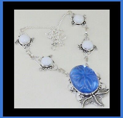 Large Blue Lolite & White Agate Handmade Antique Silver Leaf Accented Necklace