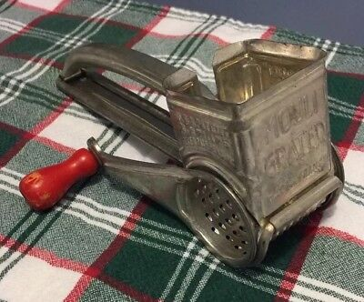 Vintage Mouli Hand Held Grater Red Wood Handle Made in France US Patent