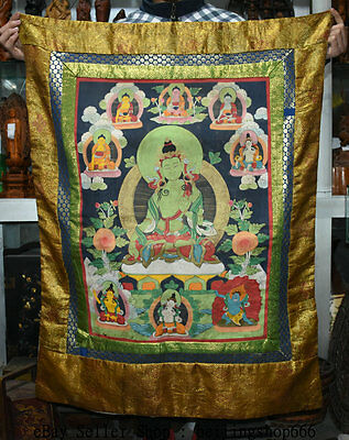 "41"" Old Tibetan Cloth Silk Buddhism Kwan-yin Tara Guanyin Buddha Thangka"