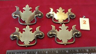 Set of 4 Metal Chippendale Style ? Drawer Pulls Handles - O2 - lw