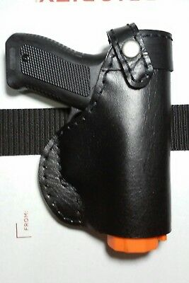 Owb LH holster mace 2.0 pepper gun spray LEFT H black leather on the waistband