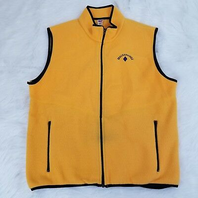 VTG Breckenridge Mens Fleece Vest Size XL Yellow Zip Front High Neck Made In USA