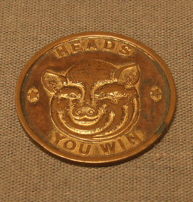"""Rare Vintage Pig """"Heads You Win, Tails You Lose"""" Bronze Coin, Very Nice"""