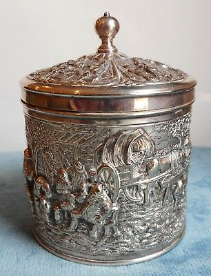 Antique Dutch Silver Embossed Tea Caddy By H.h