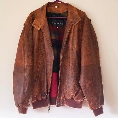 Context Brown Distressed Lamb Leather Bomber Jacket Men's Big & Tall XLT Vintage
