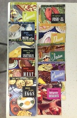 Vintage Lot of 10 Culinary Arts Institute Cookbooks Fish Meat Chocolate Italian