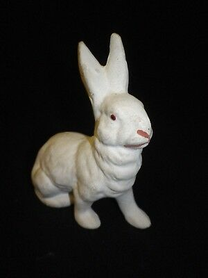 "5"" Vintage Paper Mache German Sitting White  Rabbit"
