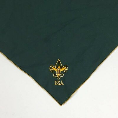 Vintage BSA Boy Scouts of America Green Scarf Neckerchief Embroidered