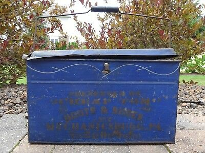 """Antique 1886 Pressed Tin Cobalt Blue """"Cheap Tom"""" BOOTS & SHOES Advertising Box"""