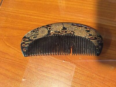 Antique Japanese Geisha Black Lacquer Hair Comb Flowers