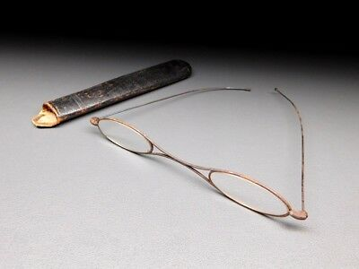 RARE Antique Iron frame Glasses with Leather case 19thC Japanese Meiji period