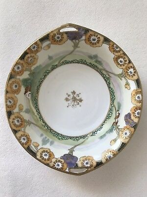 Antique Hand Painted Nippon Serving Bowl Gold Moriage Beading