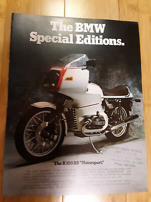 1978 BMW Motorcycle Original Factory Sales Brochure Special Editions R 100 RS