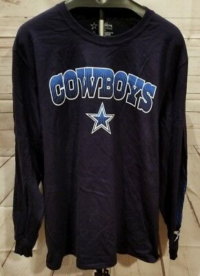 Dallas Cowboys Large Long Sleeve Shirt Nfl Football Mens New Printed Cotton Navy