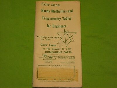 Vintage Carr Lane Handy Multipliers and Trigonometry Tables for Engineer Booklet