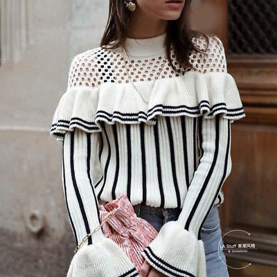 Womens Hollowed-out Ruffle Striped Portrait Knitwear Sweater Fashion Top S M