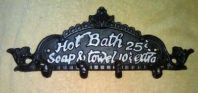 Cast Iron Plaque with Hooks for Clothes Advertising Hot Baths