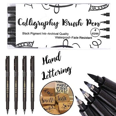 Letter Pens Calligraphy Markers Set Brush Pen Writing Art Drawing Set of 4