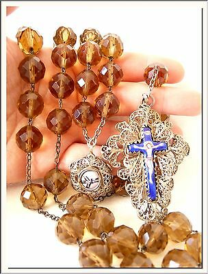 ANTIQUE 1860's GLASS BEADS - SILVER FILIGREE - GERMAN ENAMEL ROSARY HUGE SIZE !