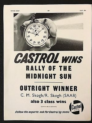 Vintage 1961 Motor Sport Magazine Advert, CASTROL MOTOR OIL, RALLY MIDNIGHT SUN