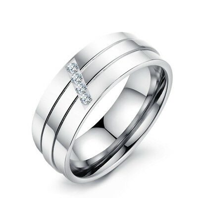 8mm Mens Women's AAA CZ Wedding Bands 316L Stainless Steel Silver Ring Size 7-11