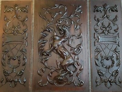 19T century French Antique Highly Carved Architectural Panel Lion 3 pieces