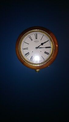 Antique Railway Clock By Smith's Of Enfield with pendulum and chime