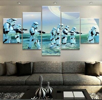 Large Framed Star Wars Stormtroopers Death Star Canvas Print Wall Art Home Decor