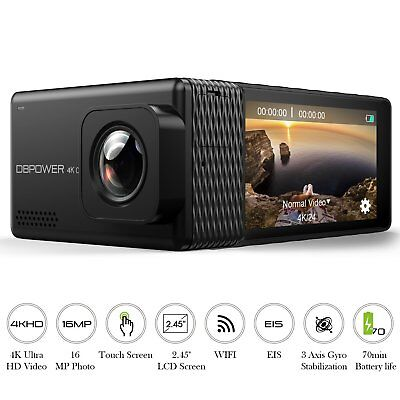 DBPOWER EX7000 PRO 4K Action Camera 2.45' LCD Touchscreen Underwater Camera ...