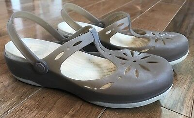 ebbf816fb3704c Women s Crocs Carlie Floral Cut Out Mary Janes T Strap Clogs Jellies Brown  Sz 10