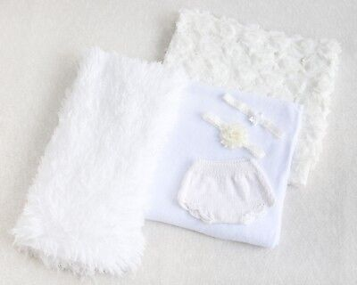 Newborn Baby Photography Props - Backdrop and Accessories Bundle - White/Ivory
