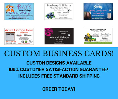 100 Custom Full Color Business Cards + Free Design Free Shipping