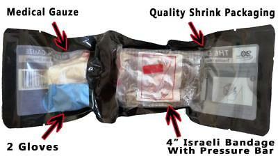 "4"" Israeli Bandage with Pressure Bar + Medical Gauze and Gloves Kit First Aid"