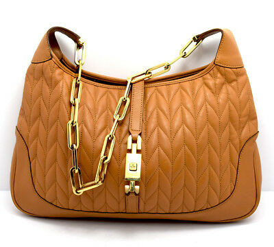c721843414df Authentic Gucci Jackie Tan Leather Shoulder Bag Handbag With Gold Chain