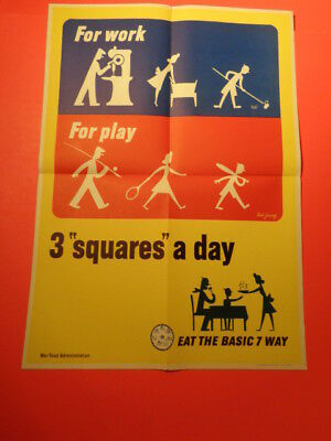 """Original 1944 WWII Poster """" 3 Squares A day""""  Ted Jung (14 by 20"""")"""