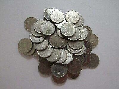 Lot of 50 Old Ireland 1992 Small Size 5 Pence Coins with Bull - Circulated