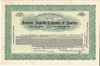 NEW JERSEY Amiesite Asphalt Co of America Stock Certificate 1925