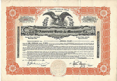 1932 DELAWARE North American Bond & Mortgage Co Stock Certificate