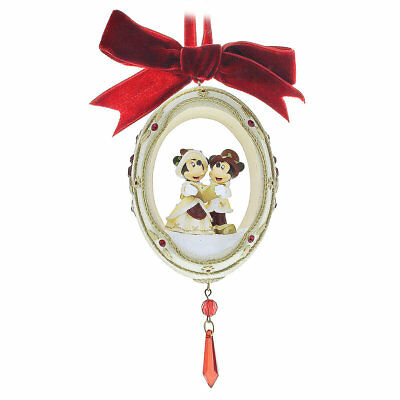 Disney Parks Minnie and Mickey Carolers Victorian Christmas Egg Ornament