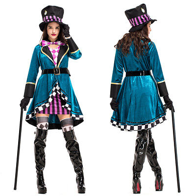 CL611 The Mad Hatter Costume Tea Party Alice In Wonderland Fancy Dress Outfit
