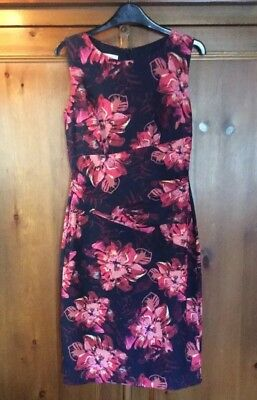 Hobbs Shift Dress Size 8 - Navy, Pink, Orange Floral Pattern Excellent Condition
