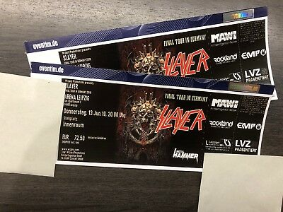 2 Tickets Slayer 13.06.2019 Leipzig Innenraum Final Tour In Germany 2019 Arena
