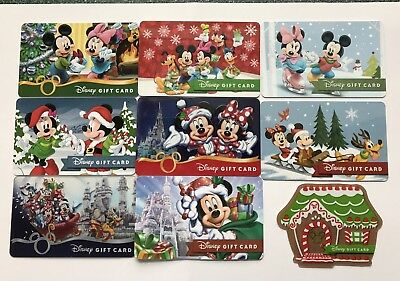 LOT OF 9 Christmas 🎄 Walt Disney GIFT CARDS, Disneyland MICKEY MOUSE MINNIE